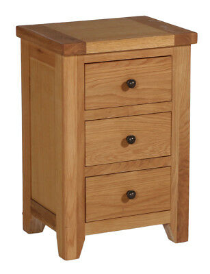 Oak Bedside Table with 3 Drawers | Side/Lamp Nightstand | Solid Wood Cabinet