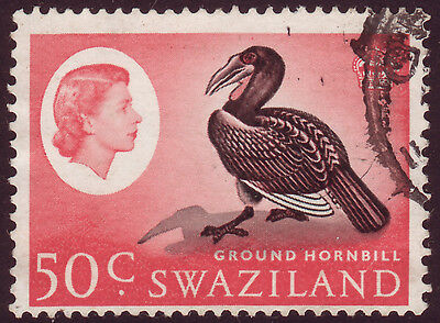 Swaziland 1962 SG103 Fine Used Ground Hornbill 50c Black & Rose Red - 2 scans