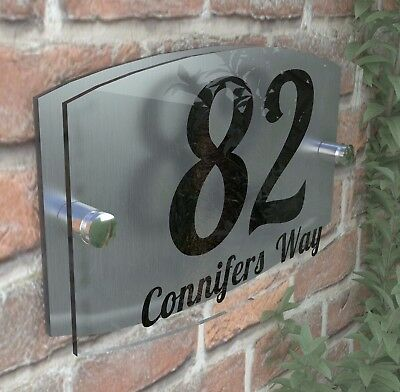 Modern Acrylic House Sign Plaque Door Number 1 - 9999 Personalised Plate EMA5-1B