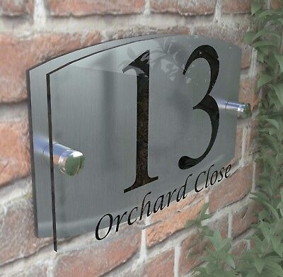 Modern Acrylic House Sign Plaque Door Number 1 - 99 Personalised Plate EMA5-13B