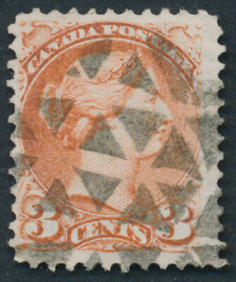 Canada #37 3c Small Queen, Dull Red, Fancel Cancel, Lacelle #1008