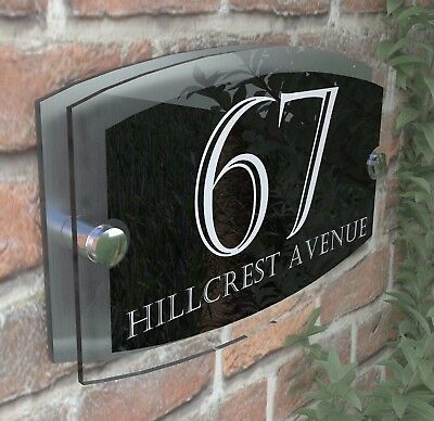 Clear Acrylic House Sign Modern Aluminium Door Number Name Road Plaque ESTA5-24W