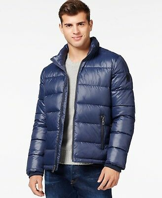 $225 NEW GUESS Men's BLUE QUILTED PUFFER HOOD FULL ZIP JACKET WINTER COAT SIZE S