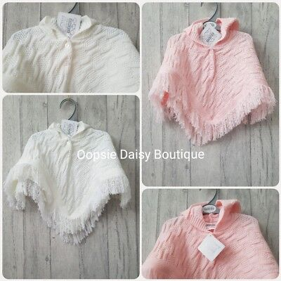 Baby Girls Lovely Pink & White Cable Knitted Cape Cardigan Poncho ☆