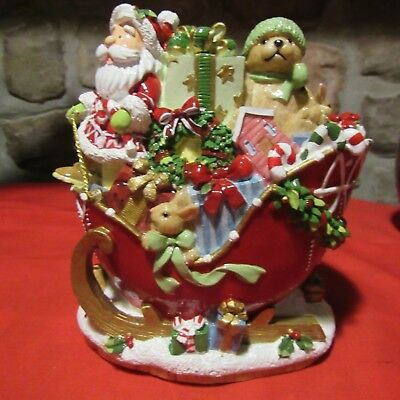 Fitz And Floyd Candy Cane Santa Musical Figurine Boxed Unused