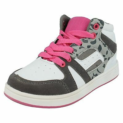 Spot On H4R082 Girls White, Pink & Grey Leopard Mid-Ankle Trainers (R30B)