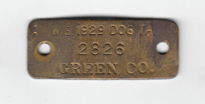 1929 Green County Wisconsin Dog Tax License Tag #2826