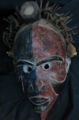 "orig $299- RITUAL KONGO MASK, EARLY 1900S REAL 14"" PROV."