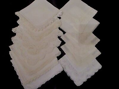 lot of 20 Vintage White crochet, tatted & LACE hankies linens, wedding