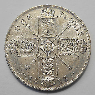 1915 Great Britain Florin VF-XF Lustrous SCARCE Date KEY George V UK SILVER Coin