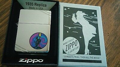 REVELER w Tie Dye  circle 35 art SQUARE CORNERS ZIPPO LIGHTER mib WINDY BOX