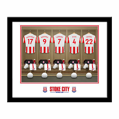 PERSONALISED Stoke City FC Dressing Room Framed Print 16x13 Xmas Football Gift