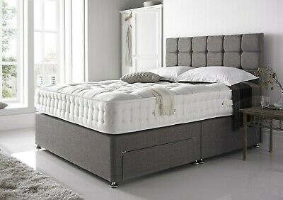 New Chenille Divan Base Under Bed Storage Drawers Headboard Cream Charcoal Black