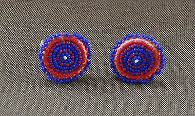 Vintage Native American Round Beaded Cufflinks Red And Blue