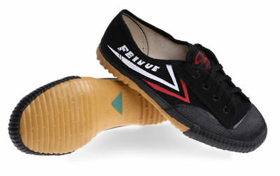 Top One Feiyue Wushu Training Shoes Black Martial Arts Kung Fu Slippers Trainers