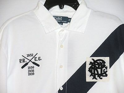 NWT MSRP $125 POLO by RALPH LAUREN Men's Rugby S/S Shirt, WHITE/NAVY, Big & Tall