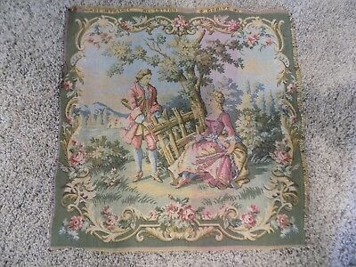 Vintage  Tapestry Panel Woven Young Love Man & Lady France