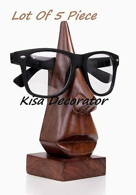 Lot of 5 Piece Classic Hand Carved Nose Shaped Eyeglass Spectacle Holder Stand