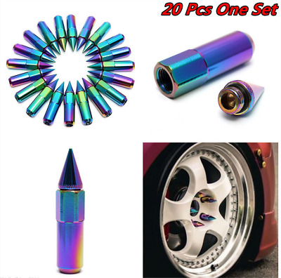 20Pcs M12X1.5 Neo Chrome Spiked Aluminum Extended Tuner 60MM Wheel/Rims Lug Nuts