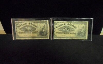 (2) 1900 Dominion of Canada Twenty Five Cents - Shin Plasters -Boville
