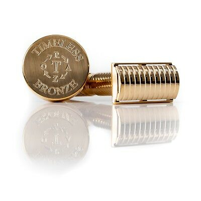 Bronze Safety Razor:  SOLID BAR Base Plate with Stand by Timeless Razor: