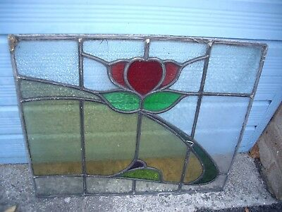 4 stained glass leaded light window panes.
