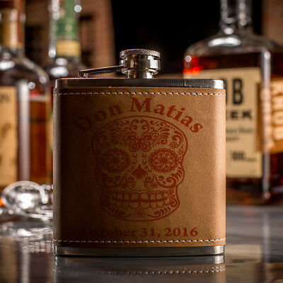Custom Engraved Leather Flask With Sugar Skull
