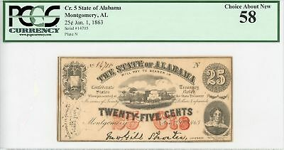1863 State of Alabama 25 Cents Civil War Currency Note PCGS Choice About New 58
