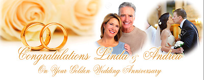 Large Custom Made Golden Wedding Banner Decoration 50th Anniversary Poster