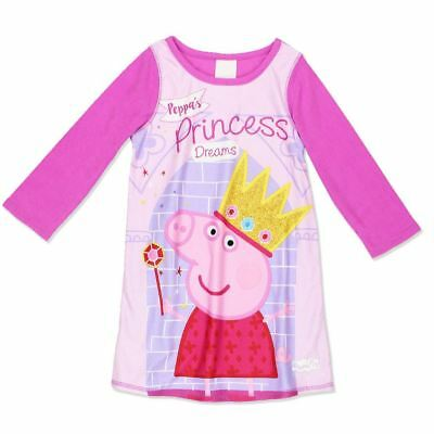 NWT Girls Peppa Pig Reversible Pink And Purple Princess Nightgown Size 2T 3T