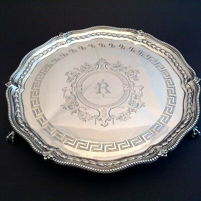 "Antique Sterling Silver Salver 12"" Claw Foot Tray by Robert Harper 1874 1076 Gr."