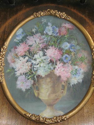 Stunning oil painting18/19th century French still life in cherub vase