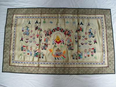 Chinese Silk Hundred 100 Children Embroidered Panel Tapestry