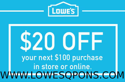 One(1x) Lowes $20 OFF $100 Printable Coupons Online & InStore-Instant Delivery