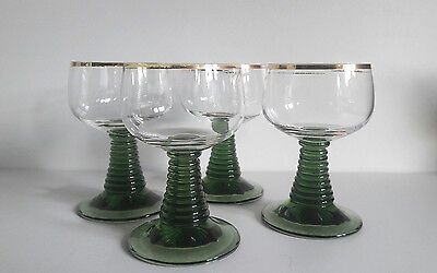 4x Vintage Green-stemmed Beehive Wine Glasses 0.1ltr, Roemers from Germany