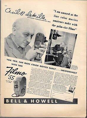 1938 Cecil deMille Famous Movie Director w/Palm Size Bell&Howell Movie Camera Ad