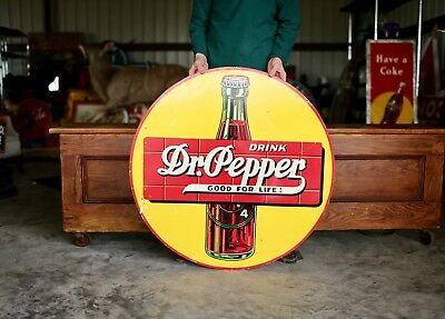 Original Extremely Rare 1930's Dr. Pepper Advertising Bottle Soda Sign Nice!