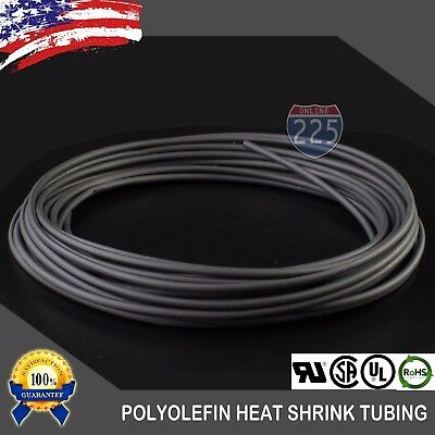 "25 FT. 25' Feet BLACK 1/8"" 3mm Polyolefin 2:1 Heat Shrink Tubing Tube Cable UL"