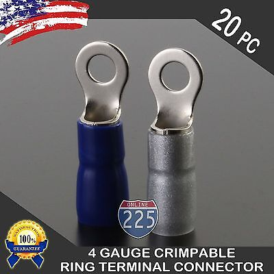 """4 Gauge Platinum Ring Terminals 20 Pack 4 AWG Wire Crimp Silver Blue Boots 5//16/"""""""