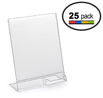 8.5 x 11 Clear Acrylic Slanted Sign Holder Displays with Business Card Holder 25