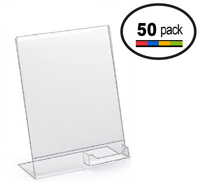 8.5 x 11 Clear Acrylic Slanted Sign Holder Displays with Business Card Holder 50