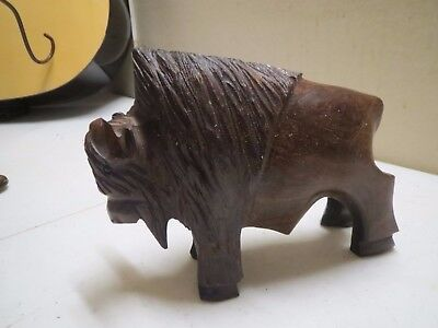 """Ironwood American Bison Buffalo Wood Hand Hand Carved Carving in Mexico 5"""" tall"""