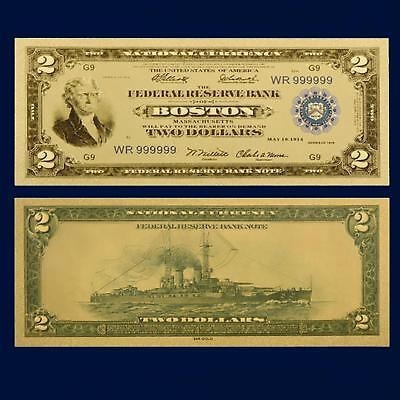 24K Gold Plated 1918 $2.00 Dollar Novelty Bill Money Us Currency With Sleeve
