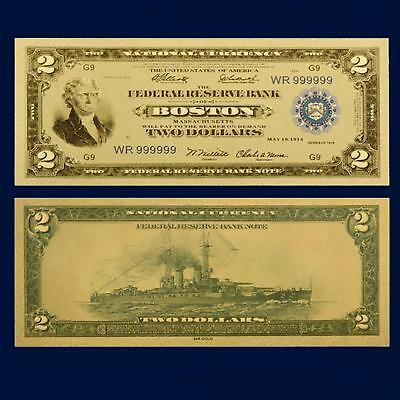 24K Gold Plated Foil 1918 $2.00 Dollar Novelty Bill Money Us Currency W/sleeve