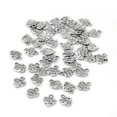 50pcs Super Popular Classic Silver/Gold Plated MADE WITH LOVE Heart Charms Y8E6
