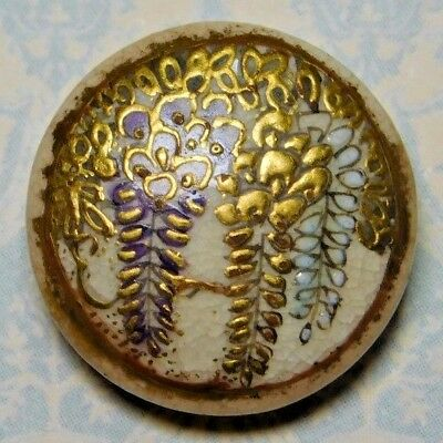 """Small ANTIQUE Satsuma Button Hand Painted WISTERIA Signed MEIJI 5/8"""" Heavy GOLD"""