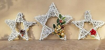 NEW MINT Small White Star Tree Topper or Christmas Ornaments Pre-Decorated