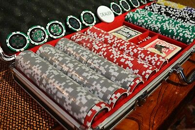 500 Ace Casino 14g Clay Poker Chips Set with Aluminum Case + Extra Chips!