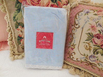 """AMY COE limited edition Crib dust ruffle """"Becca"""" blue gingham crochet lace CHIC"""