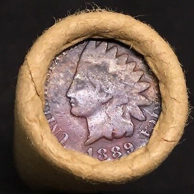 Vintage Estate Find!! Fine 1889 Indian Head End Mixed Wheat Head Penny Roll R457